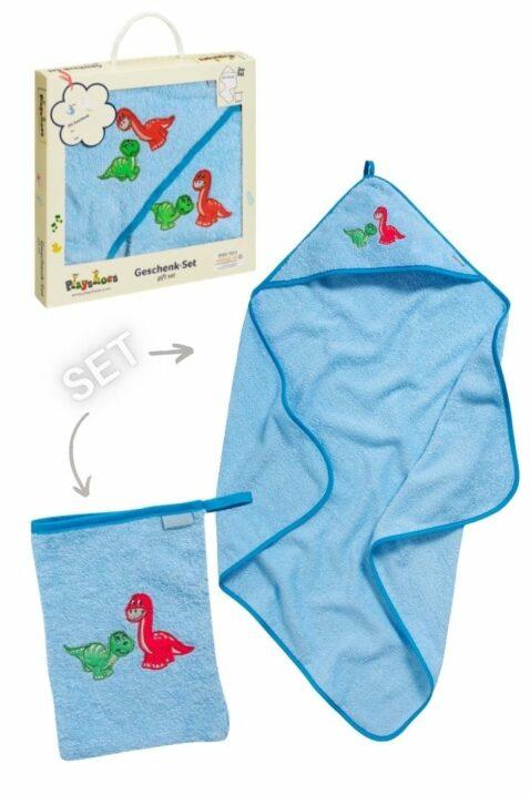 Blaues Dinosaurier Baby Geschenkset Badetuch mit Kapuze & Waschtuch aus Baumwolle - Hochwertiges Kinder Tier Babyset OEKO TEX von Playshoes - Vorderansicht Set Neugeborene