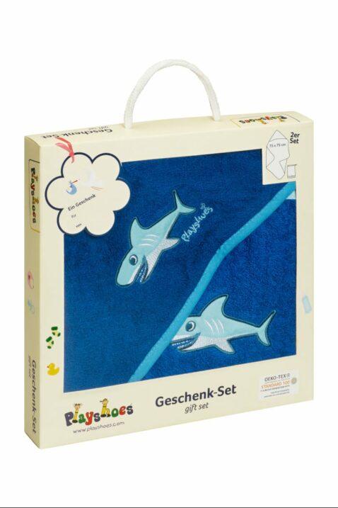 Baby Geschenkset mit Kapuzentuch große Kapuze & Waschhandschuh Waschlappen aus Frottee mit Haie in dunkelblau OEKO TEX für Jungen von Playshoes Deutschland - Geschenkbox