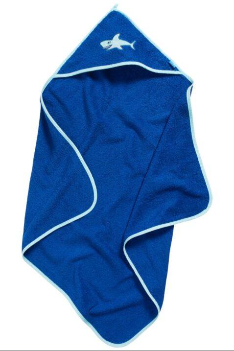 Baby Geschenkset für Neugeborene Jungen in marineblau aus hochwertiger OEKO TEX Baumwolle mit Kapuzentuch & Waschlappen Kinder Haifische von Playshoes - Vorderansicht Kapuzenbadetuch