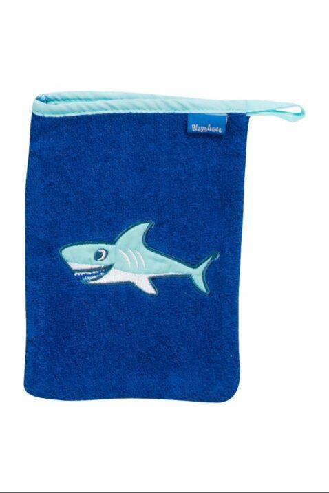 Blaues Kinder Babyset aus Frottee Waschlappen & Kapuzenbadetuch mit Haifischen OEKO-TEX als Babygeschenk für Jungen zur Geburt von Playshoes - Vorderansicht Waschhandschuh