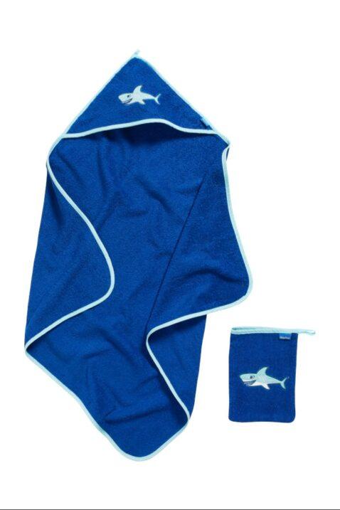 Hochwertiges 2er Baby Jungen Geschenkset in Blau mit Baumwolle Frottee Badetuch & Waschhandschuh Haie OEKO-TEX Tiermotive von Playshoes - Vorderansicht Babyset