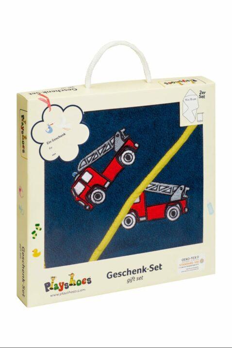 Baby Jungen Geschenkset mit Kapuzentuch große Kapuze & Waschhandschuh Waschlappen aus Frottee mit Feuerwehrautos in dunkelblau OEKO TEX von Playshoes - Geschenkbox