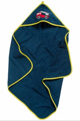 Baby Geschenkset für Neugeborene Jungen in marineblau aus hochwertiger Baumwolle OEKO TEX mit Kapuzentuch & Waschlappen Kinder Feuerwehrautos von Playshoes - Vorderansicht Kapuzenbadetuch