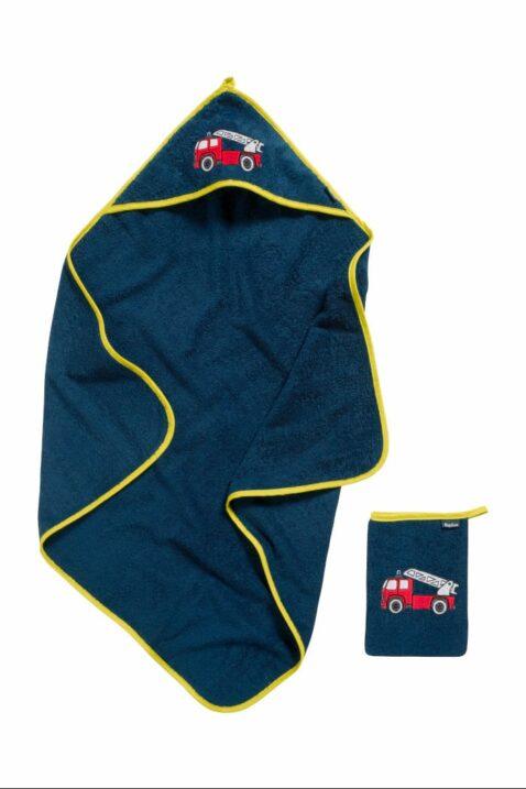 Hochwertiges 2er Baby Jungen Geschenkset in Blau mit Frottee Baumwolle Badetuch & Waschhandschuh Feuerwehrfahrzeuge OEKO-TEX von Playshoes - Vorderansicht Babyset