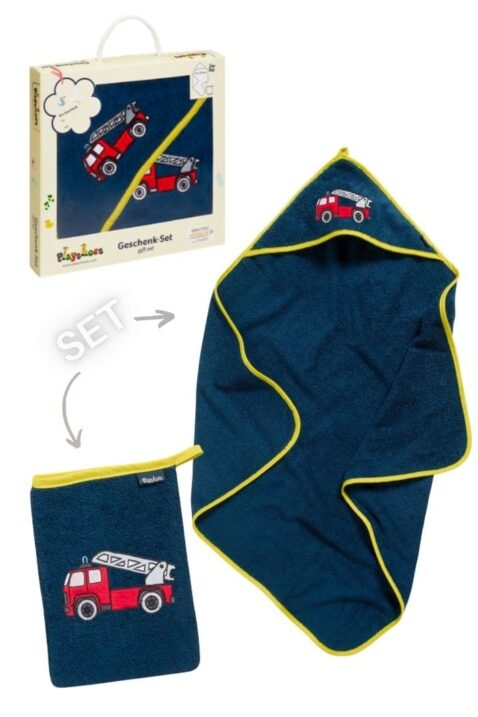 Navy blaues Feuerwehr Baby Geschenkset Badetuch mit Kapuze & Waschtuch aus Baumwolle - Hochwertiges Kinder 2 teiliges Babyset OEKO TEX von Playshoes - Vorderansicht Set Neugeborene