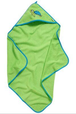 Baby Geschenkset für Neugeborene in grün aus hochwertiger Baumwolle OEKO TEX mit Kapuzentuch & Waschlappen Kinder Schildkröten Zoo Tiere von Playshoes - Vorderansicht Kapuzenbadetuch