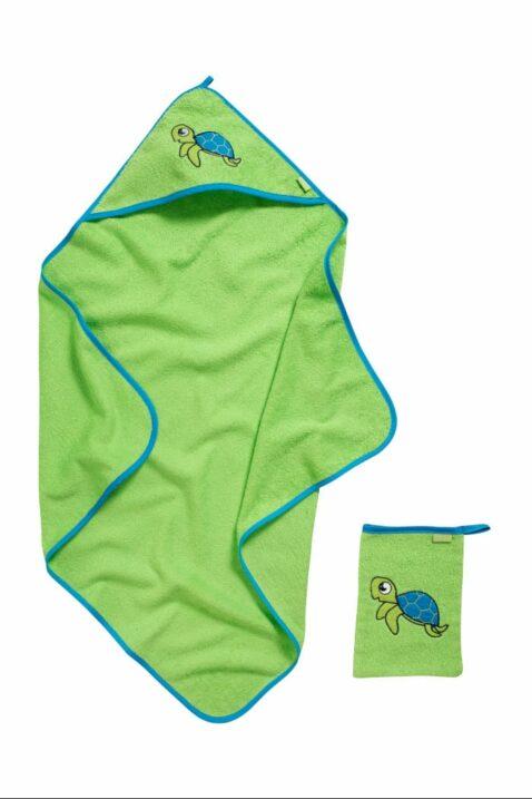 Hochwertiges 2er Baby Geschenkset in grün mit Frottee Baumwolle Badetuch & Waschhandschuh Schildkröten Tiermotive aus OEKO-TEX von Playshoes - Vorderansicht Babyset