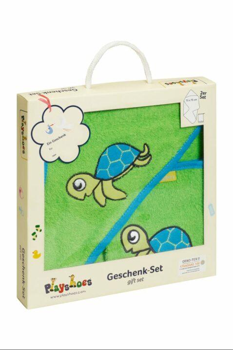 Baby Jungen & Mädchen Geschenkset mit Kapuzentuch große Kapuze & Waschhandschuh Waschlappen aus Frottee mit Schildkröten in grün OEKO TEX von Playshoes - Geschenkbox