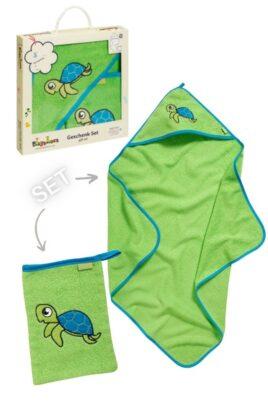 Playshoes grünes Schildkröten Baby Geschenkset Badetuch mit Kapuze & Waschtuch aus Baumwolle – Hochwertiges Kinder 2 teiliges Babyset OEKO TEX – Vorderansicht Set Neugeborene