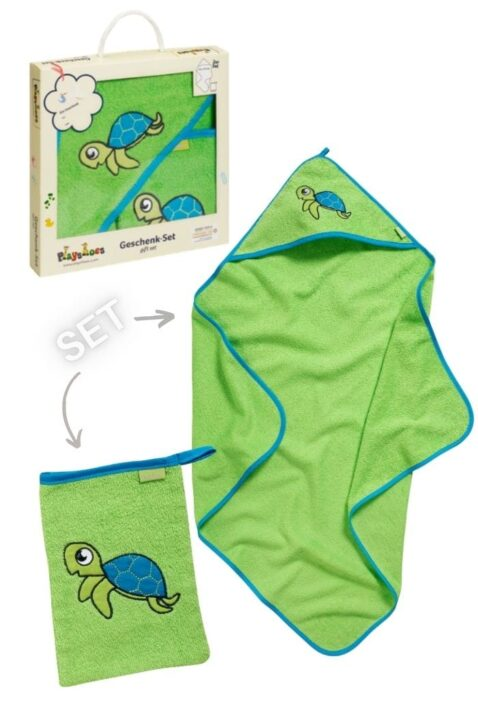 Grünes Schildkröten Baby Geschenkset Badetuch mit Kapuze & Waschtuch aus Baumwolle - Hochwertiges Kinder 2 teiliges Babyset OEKO TEX von Playshoes - Vorderansicht Set Neugeborene