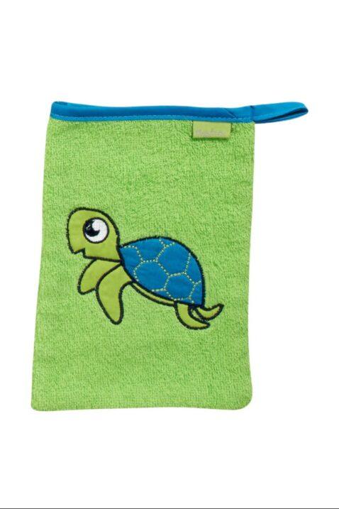 Hellgrünes Kinder Jungen & Mädchen Babyset aus Frottee Waschlappen & Kapuzenbadetuch Schildkröten Tiere OEKO-TEX als Babygeschenk zur Geburt von Playshoes - Vorderansicht Waschhandschuh