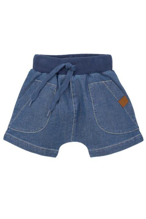 Blaue Baby Kinder Shorts mit Taschen & Kordel im Jeans Denim Look, Kordel, Komfortbund & SUN Patch - Kurze Sommer Hose von Pinokio - Vorderansicht