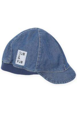 Pinokio blaue Baby Kinder Schirmmütze im Jeans Denim Look, SUN & FUN Patch & elastischem Bündchen – Sommer Mütze mit Schild & Schirm – Vorderansicht