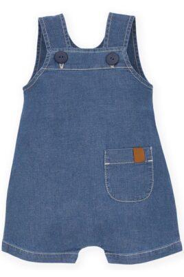 Pinokio blaue Baby Kinder Latzshorts mit Tasche im Denim Jeans Look & Patch NICE DAY – Sommer kurze Latzhose – Vorderansicht