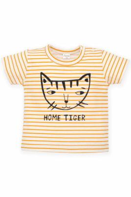 Pinokio orange weiss gestreiftes Baby T-Shirt mit Katze & Print HOME TIGER für Mädchen – Sommer Kindershirt mit hochwertigen Streifen – Vorderansicht