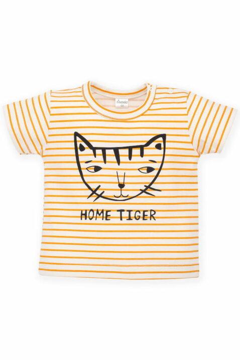 Orange weiss gestreiftes Baby T-Shirt mit Katze & Print HOME TIGER für Mädchen - Sommer Kindershirt mit hochwertigen Streifen von Pinokio - Vorderansicht