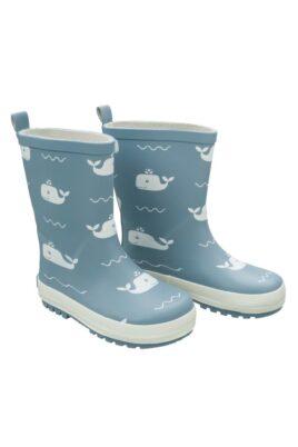 Fresk blaue Baby Kinder Gummistiefel mit Wale Tier-Motiven aus Naturkautschuk – Regenstiefel wasserdicht trittfest im Retro-Look – Vorderansicht
