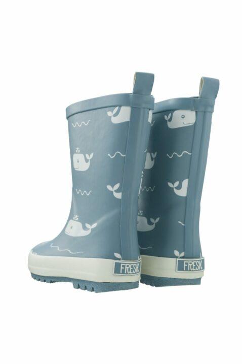Hellblaue Baby Kinder Regenstiefel mit Wale-Motiven - Tiere Rainboots wasserabweisend & rutschfest im skandinavischen Design von Fresk - Rückansicht