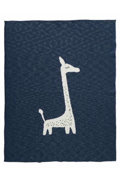 Blaue Kinder Babydecke Strickdecke mit Giraffe Tiermotiv aus Bio-Baumwolle 80 x 100 cm - Gestrickte Kuscheldecke von Fresk - Vorderansicht