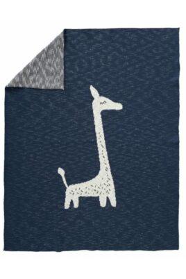 Fresk dunkelblaue Baby Kinder Kuscheldecke gestrickt mit Giraffe Tiermotiv aus hochwertiger Bio-Baumwolle 80×100 cm – Strick Babydecke – Vorderansicht gefaltet