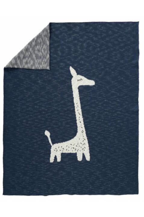 Dunkelblaue Baby Kinder Kuscheldecke gestrickt mit Giraffe Tiermotiv aus hochwertiger Bio-Baumwolle 80x100 cm - Strick Babydecke von Fresk - Vorderansicht gefaltet