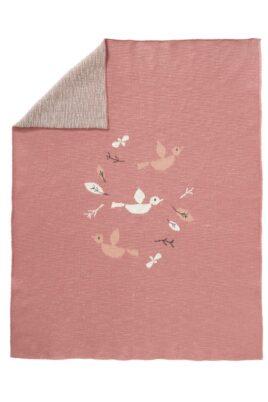 Fresk rote Babydecke Strickdecke mit Vögel & Blätter aus Bio-Baumwolle 80 x 100 cm – Gestrickte hochwertige Kinder GOTS Kuscheldecke Birds – Vorderansicht