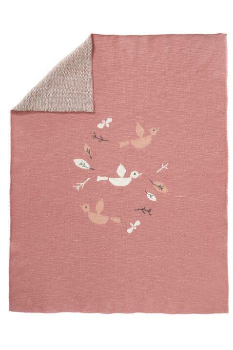Rote Babydecke Strickdecke mit Vögel & Blätter aus Bio-Baumwolle 80 x 100 cm - Gestrickte hochwertige Kinder GOTS Kuscheldecke Birds von Fresk - Vorderansicht
