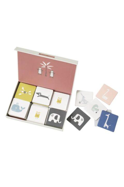 Memospiel mit Tier-Motiven Muster & Illustrationen - Bunte Memory Cards Gedächtnisspiel Familienspiel von Fresk - Box mit Spielkarten
