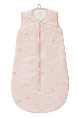 Fresk Rosa Baby Ganzjahresschlafsack mit Regenbögen Bio Baumwolle GOTS zertifiziert für Mädchen – Hellrosa ärmelloser Babyschlafsack Kugelschlafsack – Vorderansicht