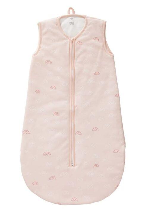 Rosa Baby Ganzjahresschlafsack mit Regenbögen Bio Baumwolle GOTS zertifiziert für Mädchen - Hellrosa ärmelloser Babyschlafsack Kugelschlafsack von Fresk - Vorderansicht