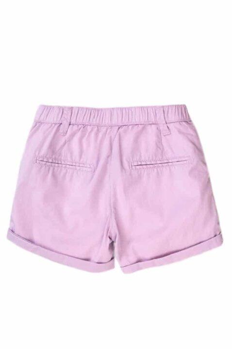 Lila Baby Sommer kurze Hose Shorts mit Umschlag & Taschen für Mädchen Popeline Baumwolle - Mädchen Sommer Kindershorts unifarben casual von Minoti - Rückansicht