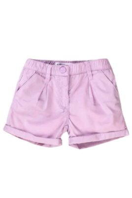Minoti lila Babyshorts mit Taschen & Umschlag für Mädchen in weichem bequemen Baumwoll Popeline-Stoff für Mädchen – Kinder Sommershorts – Vorderansicht