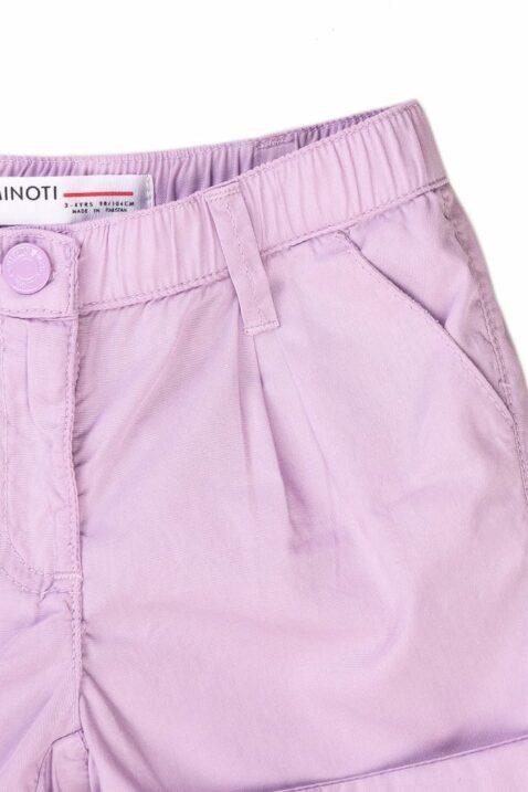 Lila Kinder Baby-Shorts kurze Hose mit Seitentaschen, Gesäßtaschen & Umschlag für Mädchen - Popeline Sommer Baumwollshorts von Minoti - Detailansicht
