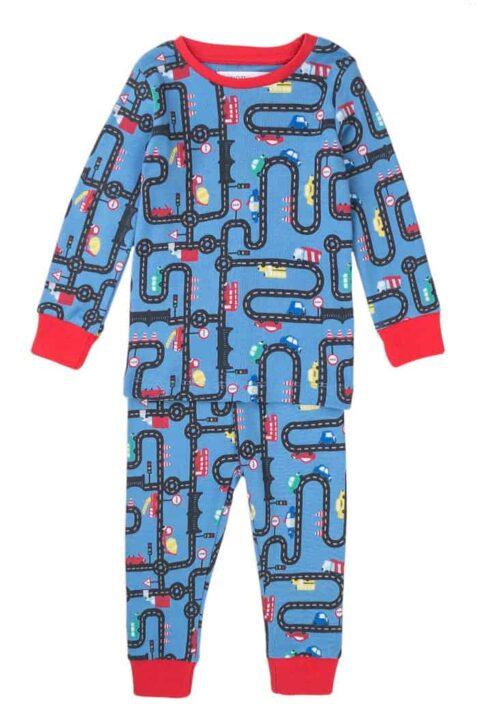 Blauer Baby Schlafanzug Pyjama langarm mit Straßen, Autos, Straßenschilder & rote Rip-Bündchen aus Baumwolle für Jungen - Kinder Nachtwäsche von Minoti - Vorderansicht