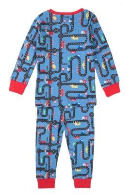Blau roter langarm Kinder Baby Schlafanzug Pyjama mit Straßennetz & Autos aus 100% Baumwolle - Nachtwäsche Jungen von Minoti - Rückenansicht