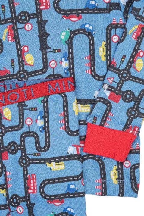 Blauer Jungen Baby Kinder Baumwoll-Schlafanzug Set Pyjama langarm mit Langarmshirt & Hose - mit Autos, Straßen, roten Rip-Bündchen & Stretchbund für Jungen von Minoti - Detailansicht