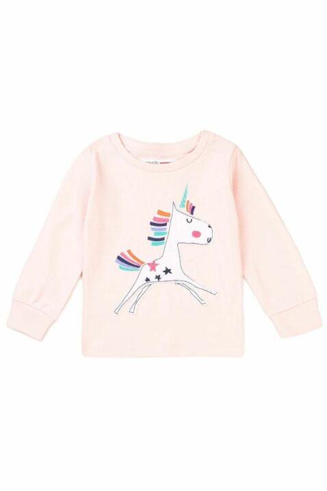 Hellrosa Baby Kinder langarm Pyjama Schlafanzug Oberteil aus hochwertiger Baumwolle mit Regenbogen & Einhorn All-Over-Print für Mädchen von Minoti - Vorderansicht Oberteil