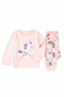 Minoti rosa Baby Schlafanzug Pyjama langarm mit Einhorn, Regenbogen, Wolken, Sonne, Sterne, Schmetterlinge & Rip-Bündchen aus Baumwolle für Mädchen – Kinder Nachtwäsche – Vorderansicht Set