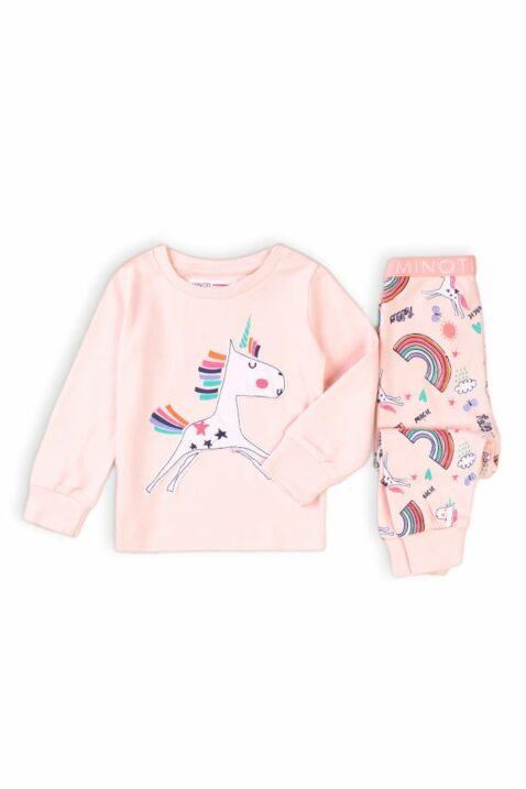 Rosa Baby Schlafanzug Pyjama langarm mit Einhorn, Regenbogen, Wolken, Sonne, Sterne, Schmetterlinge & Rip-Bündchen aus Baumwolle für Mädchen - Kinder Nachtwäsche von Minoti - Vorderansicht Set