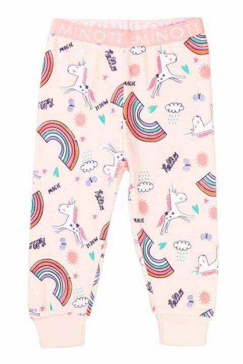 Rosa langarm Einhorn Kinder Baby Schlafanzug Hose Nachtwäsche für Mädchen aus Baumwolle für Mädchen mit Regenbögen, Schmetterlinge, Sterne, Wolken, Sonne von Minoti - Vorderansicht Schlafhose