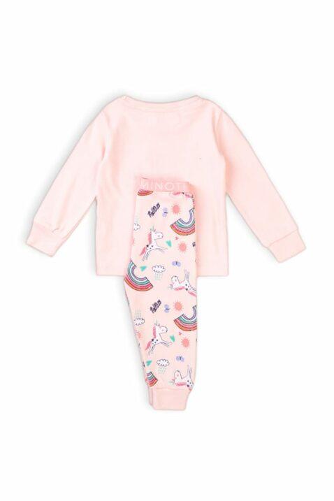 Rosa langarm Kinder Baby Schlafanzug Pyjama mit Einhörner, Regenbögen, Sonne, Schmetterlinge & Print magic aus 100% Baumwolle - Nachtwäsche Mädchen von Minoti - Rückenansicht Set