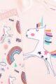 Rosa Mädchen Baby Kinder Baumwoll-Schlafanzug Set Pyjama langarm mit Langarmshirt & Hose - mit Regenbogen, Einhorn & Schmetterling Motiven All Over - Rip-Bündchen & Stretchbund von Minoti - Detailansicht