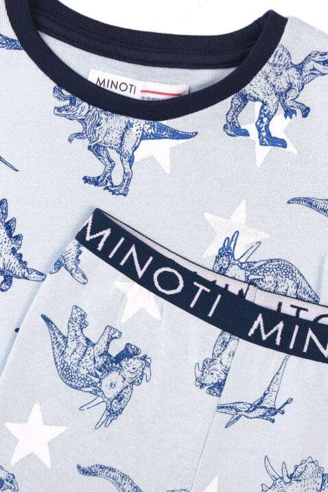 Blau weißer Dinosaurier Schlafanzug Pyjama für den Sommer mit kurzer Hose & T-Shirt kurzarm für Jungen aus Baumwolle - Rip Bündchen navyblau von Minoti - Detailansicht