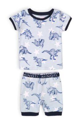 Minoti blau-weißer Baby kurzer Schlafanzug Pyjama – Shorts & Kurzarmshirt mit Dinosaurier Motiven aus Baumwolle für Jungen – Kinder Sommer Nachtwäsche – Vorderansicht