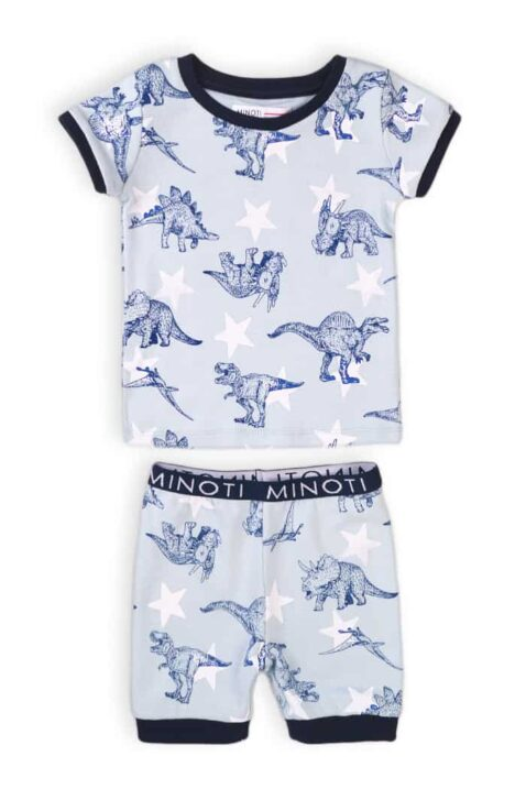 Blau-weißer Baby kurzer Schlafanzug Pyjama - Shorts & Kurzarmshirt mit Dinosaurier Motiven aus Baumwolle für Jungen - Kinder Sommer Nachtwäsche von Minoti - Vorderansicht