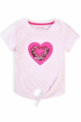 Minoti rosa Baby Kinder T-Shirt kurzarm mit Rundhalsauschnitt, Herzen & Zierschleife aus hautfreundlicher 100% Baumwolle für Mädchen – Sommershirt – Vorderansicht