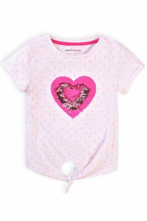 Rosa Baby Kinder T-Shirt kurzarm mit Rundhalsauschnitt, Herzen & Zierschleife aus hautfreundlicher 100% Baumwolle für Mädchen von Minoti - Sommershirt - Vorderansicht