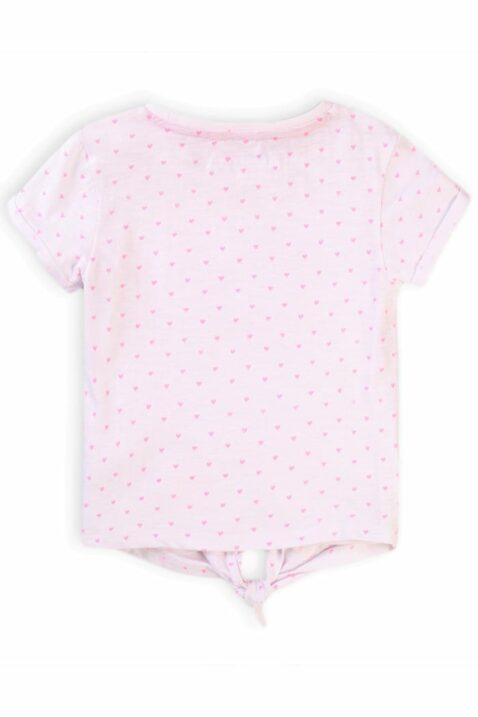 Rosa Baby Kindershirt kurzarm mit Herzen, Schleife & Rundhals für Mädchen - Baumwolle Print gemustertes Sommershirt von Minoti - Rückenansicht