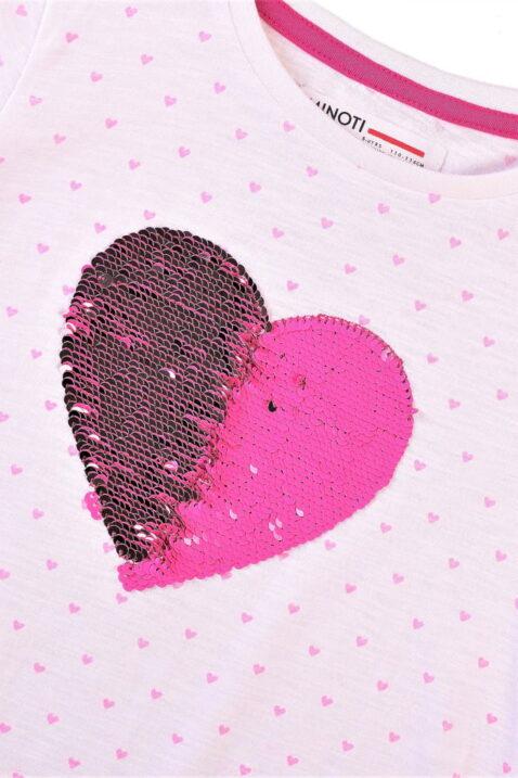Rosa Kinder Mädchenshirt Kurzarmshirt mit Herzen & Schleife - Sommer Baby Kinder T-Shirt Rundhals aus Baumwolle von Minoti - Detailansicht