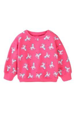 Minoti rosa Baby Kinder Sweatshirt Pullover langarm mit Zebras im All-Over-Look, Rip-Bündchen & Rundhalsausschnitt für Mädchen – Oberteil – Vorderansicht